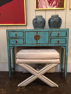 Reedition ofAntique Chinese Altar orConsole Table with 4 Drawers and 2 Cabinet Doors withBrass Hardware Lacquered Finish in a Striking Deep Sky Blue