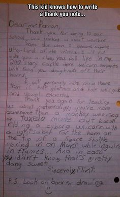 Now This Kid Knows How To Write a Thank You Note