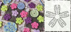 Bom dia fiorellini  essas florzinha è linda e simples, ideal para crocheteiras iniciantes.   baci            http://sewcraftlicious.blogspo...