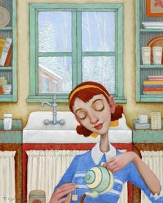 "Fred Calleri - ""Granny's Kitchen"" - Oil on panel"
