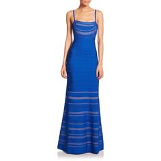 POSH GIRL Trista Royal Blue Bandage Gown (3 705 ZAR) ❤ liked on Polyvore featuring dresses, gowns, multi, blue bandage dress, blue evening gown, royal blue evening dress, blue evening dresses and royal blue evening gown