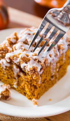 Iced Pumpkin Coffee Cake - super moist, bursting with fall spices, and easy to make!