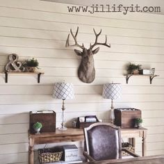 rustic home office makeover, Jillify It on - SHIPLAP! Rustic Home Offices, Home Office Decor, Home Decor, Office Ideas, Installing Shiplap, Faux Shiplap, Shiplap Fireplace, Plank Walls, Office Makeover