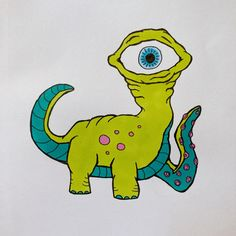 A one-eyed dino like alien with one tentacle. Alcohol Markers, Daily Drawing, Tentacle, Moleskine, Dinosaur Stuffed Animal, Doodles, Drawings, Funny, Animals