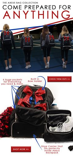 Be prepared for cheerleading, no matter what! The Axeus Cheerleading bags help you keep everything together so you'll never forget anything!