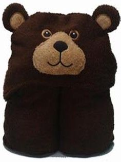 Personalized Big Brown Bear Hooded Towel Buddy