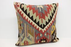 Anatolian Kilim pillow cover 24x24 inches Turkish pillows Handmade kilim pillow Big Cushion covers Huge pillow cover XL-217 by stripepattern on Etsy