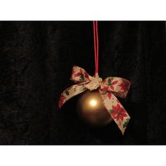 This beautiful handcrafted ornament is created with a gold glass ornament. It has a simple poinsettia bow. Handcrafted Christmas Ornaments, Handmade Christmas, Fabric Ornaments, Ball Ornaments, Gold Glass, Glass Ball, Christmas Inspiration, Poinsettia, Angel