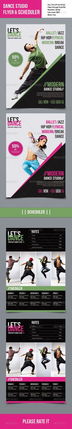 Dance Studio Flyer — Photoshop PSD #corporate #flyer • Available here → https://graphicriver.net/item/dance-studio-flyer/7596852?ref=pxcr
