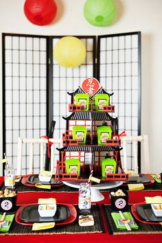 Awesome Lego Ninjago Inspired Birthday Party- centerpiece