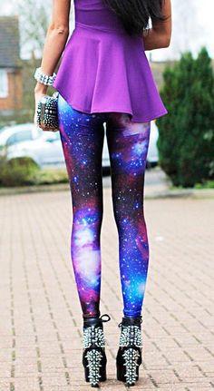 Galaxy leggings and purple top
