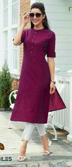 B simple and elegant😎 Churidar Designs, Kurta Designs Women, Dress Neck Designs, Designs For Dresses, Dress Indian Style, Indian Dresses, Indian Designer Outfits, Designer Dresses, Simple Kurti Designs