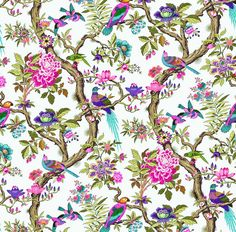 Dolls House Wallpaper or scale Birds Quality Paper Blue Pink Miniature