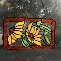 2 daisies stained glass window hanging