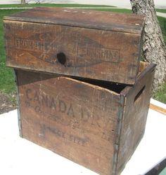 "old wood boxes on ebay | 11""W x 16""L x 12""H. Fruit box is 7""W x 15L x 10""H. Nice vintage pieces ..."