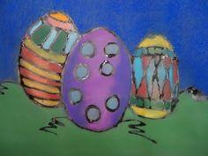 a faithful attempt: Chalk Pastel Glue Line Eggs