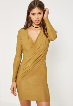 Missguided - Green Silky Wrap Bodycon Dress $52.50