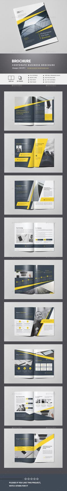 Clean Business Brochure Corporate Brochure Template by Pro-Gh. Layout Design, Broucher Design, Graphic Design Layouts, Corporate Brochure, Business Brochure, Corporate Design, Brochure Inspiration, Catalog Design, Cool Business Cards