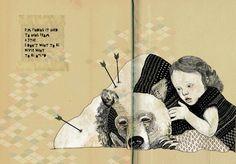 bear, girl, sad, pattern, geometric, words, book