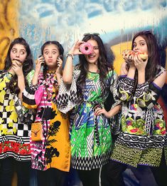 Bold color schemes and funky patterns make for a hit campaign! Presenting Gul Ahmed's YOLO collection- a range of un-stitched shirt pieces that scream fun, flirty and oh so chic. Pakistani Dress Design, Pakistani Dresses, Denim Ootd, Kaftan Tops, Secret Closet, Lawn Suits, Cotton Suit, Fashion Books, Yolo