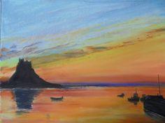 Lindesfarne Castle sunrise. 2d Art, Sunrise, Scenery, Castle, British, Landscape, Portrait, Places, Artwork