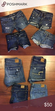 4 pair of American Eagle shorts. Perfect ❤ 4 pair of American Eagle shorts. Perfect ❤ one pair are hi rise shortie, super super stretch, 1 pair are regular and the other 2 pair are stretch. American Eagle Outfitters Shorts Jean Shorts
