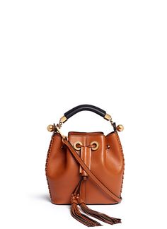 Chloe Gala Leather Braided Bucket Bag
