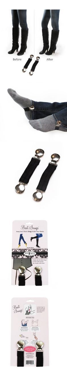 Boot Clips, Boot Straps Stirrups -- Boot Snugs Boot Straps Pant Clips for Smooth Jeans in Boots (1 Pair, Black) - Boot Snugs help keep your pants tucked snugly inside your boots. This prevents the uncomfortable feeling and unsightly look of bunched up pant legs at the knees. One pair will perfectly assist in keep... - Boots - Kitchen