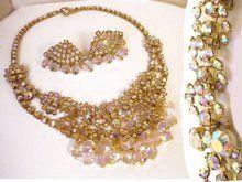 Vintage Rhinestone Necklace & Earrings * Glitzy Loaded chandelier * layered choker * demi parure * tiered dangle drops costume jewelry