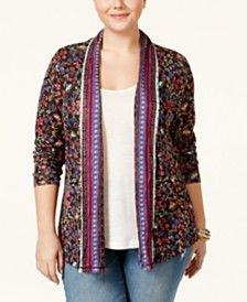American Rag Plus Size Printed Open-Front Cardigan, Only at Macy's