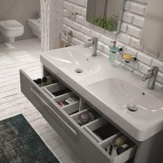 Double Sink with organizer drawers Bathroom Toilets, Bathroom Renos, Small Bathroom, Bathrooms, Bathroom Inspiration, Bathroom Accessories, Double Vanity, Home Goods, Drawers