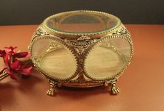 Stylebuilt Beveled Glass Ormolu Jewelry Casket // Wedding Ring Bearer Box // from Successionary, $225.00