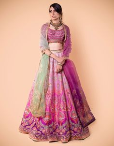 Ombre Kalidar Lehenga Embroidered With Zari. Paired With An Embroidere – Tarun Tahiliani Wedding Dresses For Girls, Indian Wedding Outfits, Bridal Outfits, Indian Outfits, Indian Designer Outfits, Designer Dresses, Indian Lehenga, Brocade Lehenga, Pink Lehenga