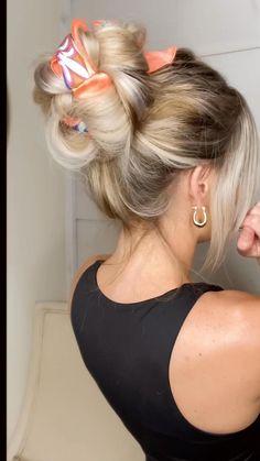 Bun Hairstyles For Long Hair, Work Hairstyles, Scarf Hairstyles, Pretty Hairstyles, Summer Hairstyles, Blonde Hairstyles, Hairdos, Hair Upstyles, Hair Videos