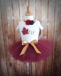 Burgundy Fall 1st Birthday Outfit CUSTOMIZABLE Outfit Girls