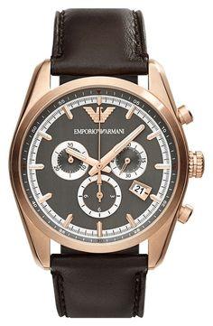 Emporio Armani   Chronograph Leather Strap Watch, 43mm #emporioarmani #watch #jewelry