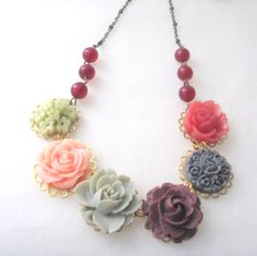 Statement necklace red grey party bridesmaid garden romantic woodland flower on Etsy, 113,44kr
