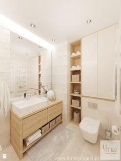 Projekt salonu z aneksem kuchennym 22 m2 i łazienki 5,2 m2. - Łazienka, styl nowoczesny - zdjęcie od 4ma projekt