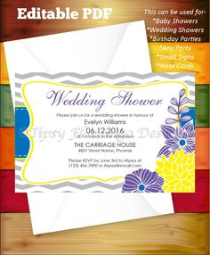 Wedding Shower, Shower, Invitation, EDITABLE PDF, Party Invitation, Purple, Yellow, Floral, Party Invite, Printable Instant Download-TFD583 by TipsyFlamingoDesigns on Etsy