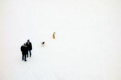 Treffen 01 – Hunde, Halter, Schnee. Fast unbedeutende Figuren in überdimensionalem Umfeld, denen doch die ganze Aufmerksamkeit gehört. 2013, MD | © www.piqt.de | #PIQT
