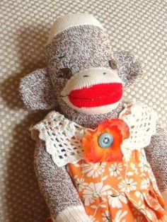 Sock Monkey Orange Dress by simpletilly on Etsy, $35.00