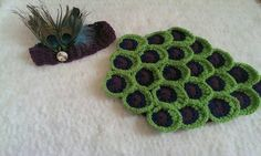 Crochet peacock tushie cover and headband by NissCrochetingShop on Etsy