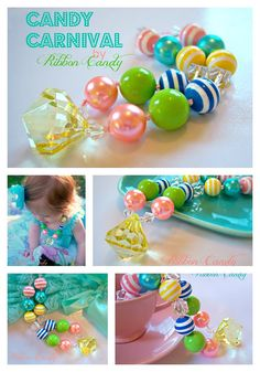 Candy Carnival Girls Chunky Necklace  by ribboncandyhairbows, $24.00