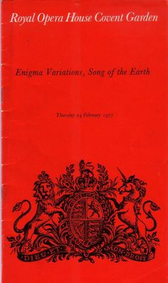 Song of the Earth Royal Opera House Theatre Programme 24th February 1977