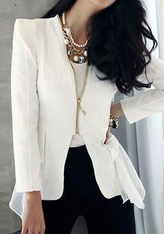 Peplum tuxedo Blazer, cute! Women's work fashion clothing outfit for fall