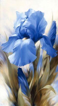 Flower painting by Igor Levashov Iris Flowers, Blue Flowers, Watercolor Flowers, Watercolor Paintings, Drawing Flowers, Iris Painting, Painting Flowers, Arte Floral, Flower Wallpaper