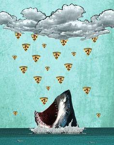 Pizza Shark Print Art Print by roxymakesthings Pizza Planet, Photomontage, Pizza Art, Pizza Pizza, Pizza Meme, Pizza Logo, Crust Pizza, Chicken Pizza, Arte Alien