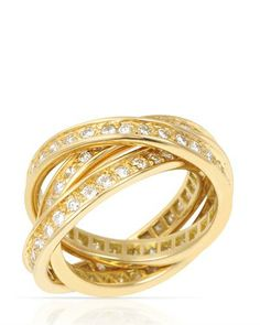 Cartier Trinity 18k Yellow Gold 1.75 TDW Diamond Band Ring, 9/10 Condition