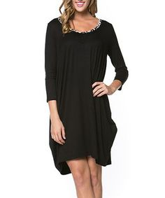 Loving this Chalmon's Black Embellished Shift Dress on #zulily! #zulilyfinds