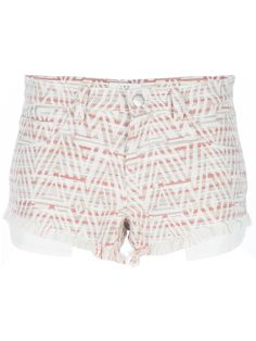 Inca print cotton-linen blend shorts from IRO featuring a concealed front fastening with top button, belt loops to the waist, a classic five pocket design and frayed edges to legs openings.